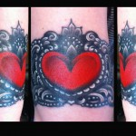 Lace wristband bracelet tattoo done by female tattoo artist Jessi Lawson
