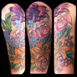 Floral half sleeve tattoo done by Jessi Lawson female tattoo artist Minneapolis