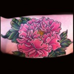 peony tattoo done by jessi lawson